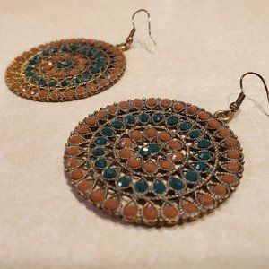 Francesca's Collections Amber & Teal Disc Earrings
